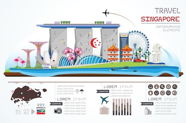 情報グラフィックシンガポールテンプレートデザイン。