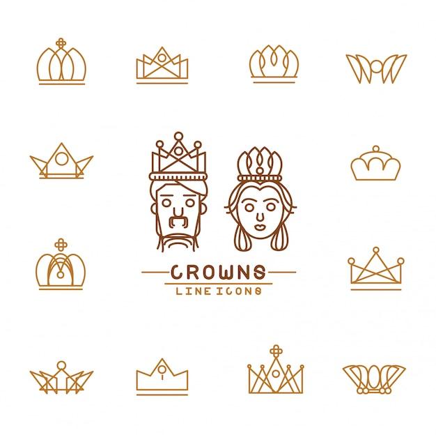 Набор иконок линии короны.