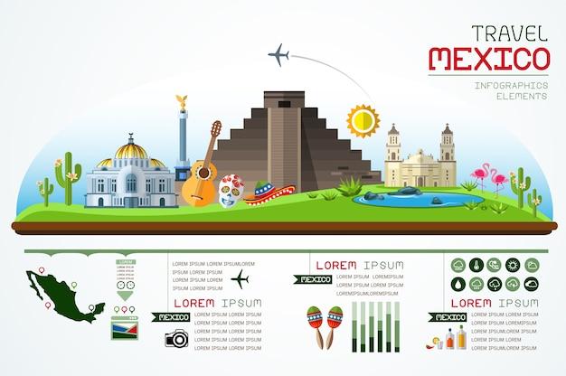 インフォグラフィックスランドマークメキシコテンプレートデザイン