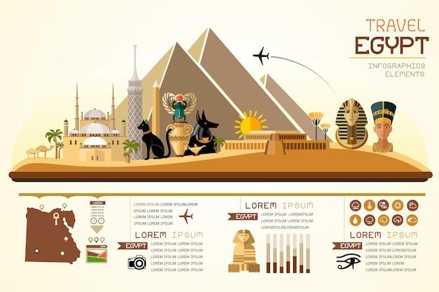 インフォグラフィックスランドマークエジプトのテンプレートデザイン