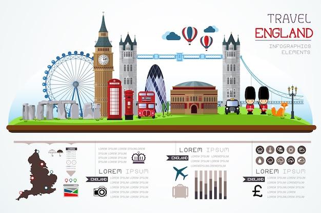 インフォグラフィックス旅行とランドマークイングランドのテンプレートデザイン。