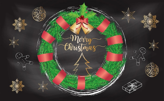 チョコレートの背景とクリスマスの花輪
