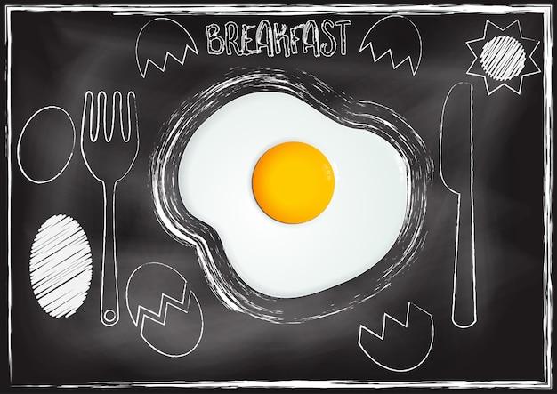 手描きのスタイルで黒板の背景を持つ卵