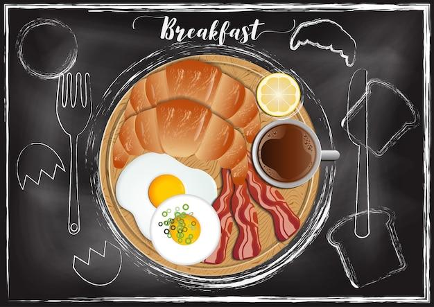 手描きのスタイルで黒板の背景と朝食