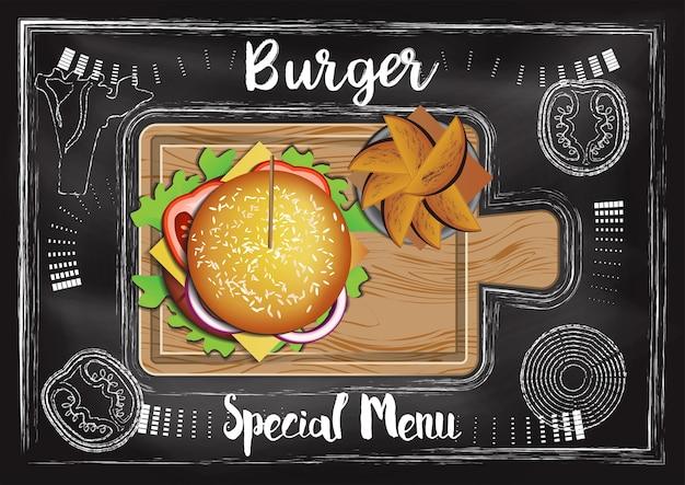 黒板の背景を持つハンバーガー