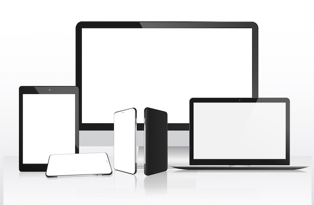 Реалистичный компьютер, ноутбук, планшет и мобильный