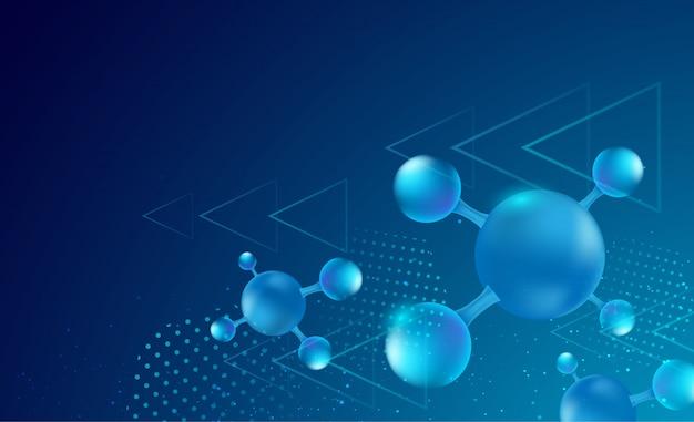 濃い青のグラデーションの背景と矢印の幾何学的な要素を持つ抽象的な分子デザイン。