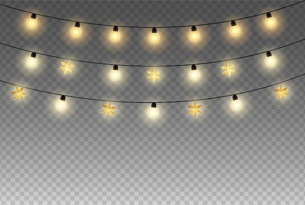 透明な背景に分離されたお祝いライト。