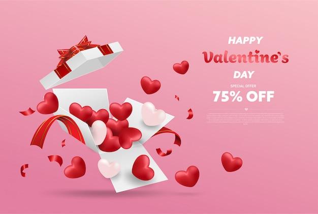 赤いリボンとハートの風船、分離されたオープンギフトボックス、バレンタインのデザインと白いギフトボックスを驚かせる。