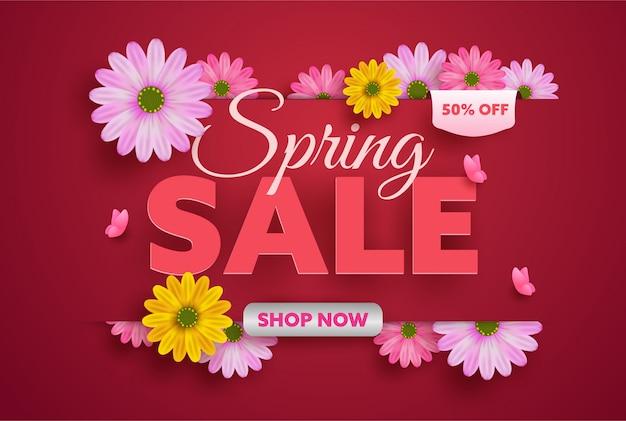 Цветочная весна с цветущими цветами баннер