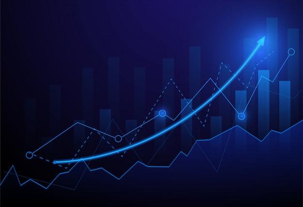 青の背景にビジネスグラフチャート投資取引。