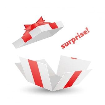 Сюрприз откройте белую подарочную коробку с красной лентой, бантом и летающей крышкой.