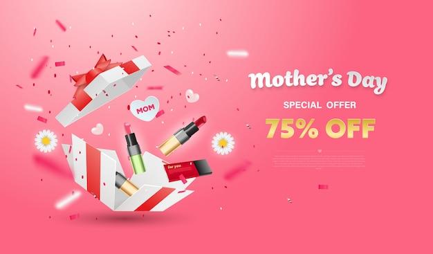 花と化粧品の白いギフトボックスを驚かせます。母の日デザイン。