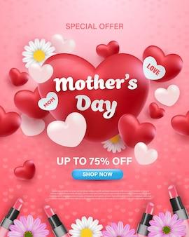 Счастливый день матери баннер дизайн с реалистичными цветами, помады и сердца.