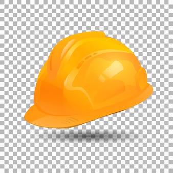 Реалистичный дизайн коллекции желтый шлем. защитная шапка.