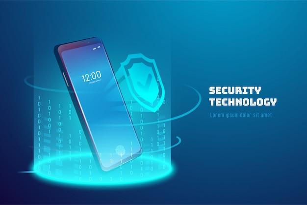 Технология безопасности мобильных телефонов. фон системы защиты программного обеспечения.