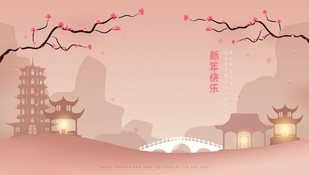 幸せな中国の旧正月バナー
