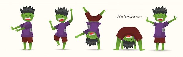 Милые дети в костюмах хэллоуина зомби.