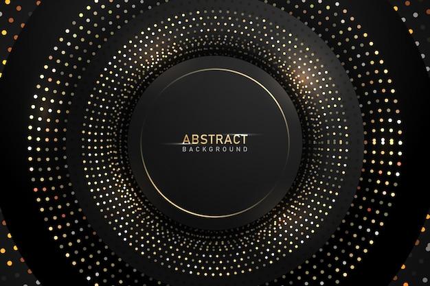 Абстрактный темный фон с золотой блестящий круг блеск.