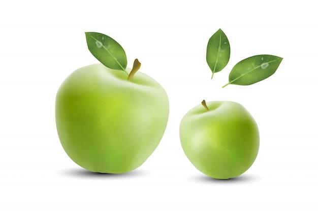 Реалистичные зеленые яблоки баннер фон