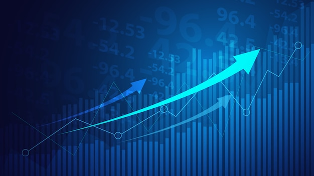 青の背景に株式市場投資取引のビジネスキャンドルスティックグラフグラフ。