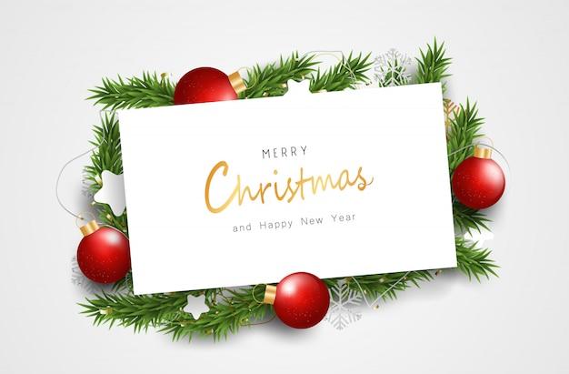 С новым годом и рождеством на белом знаке. чистый фон с типографикой и элементами.
