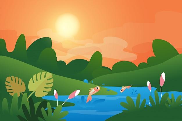 湖と魚のイラストと春と夏の自然風景