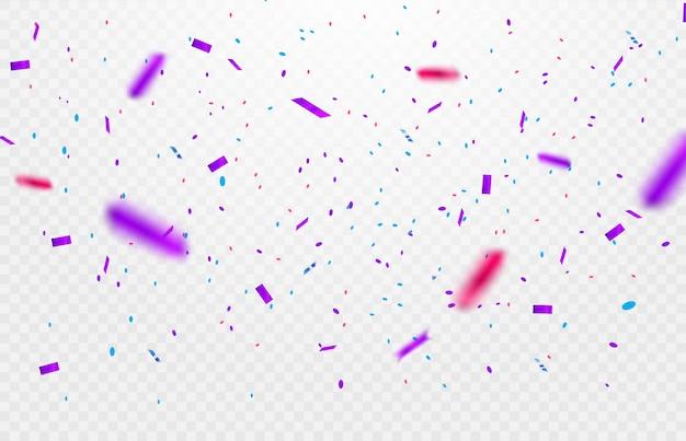 カラフルな光沢のある輝きや透明な背景に落ちるリボンとパーティー、お祝いや特別な誕生日の背景