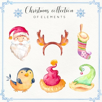 水彩クリスマス要素コレクション