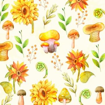 Акварельный фон с подсолнухом и грибами
