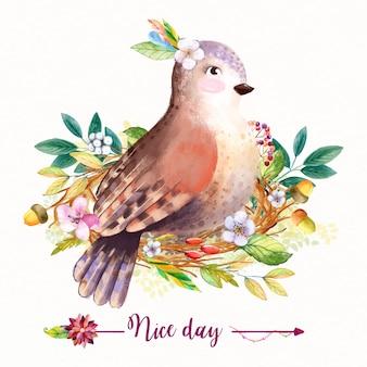 Акварель цветочный фон с листьями и птицей