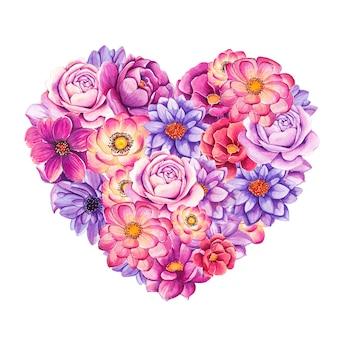 Красивое сердце, наполненное раскрашенными вручную акварельными цветами