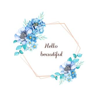 ゴールデンフレームとロマンチックな水彩花。