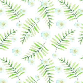 水彩画の葉と花を持つシームレスな熱帯パターン