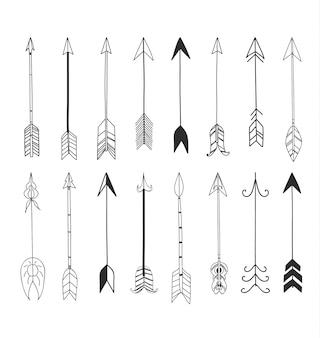 矢印手描きかわいいラインアートセットのイラスト