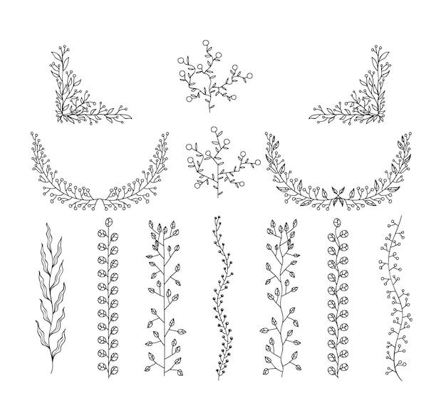 デザイン花の要素落書きセットラインアートイラスト