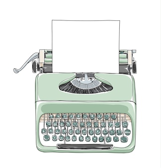 ミントグリーンのヴィンテージタイプライターの手描きのベクトル