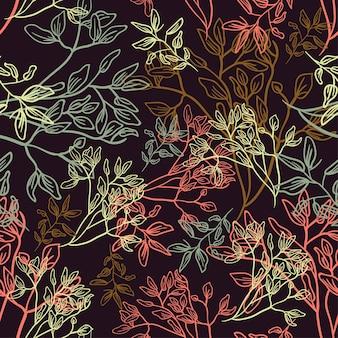 花のラインの花の葉パターン生地のスケッチ