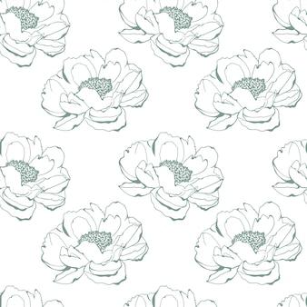 花の柔らかい色の手描きのスケッチパターン背景ベクトルイラスト
