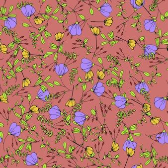シームレスな手描きの花漫画パターン背景