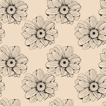 シームレスな手描きの花スケッチパターン背景