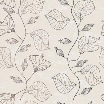 枝と葉ライン手描きのシームレスパターン