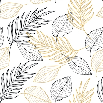ヤシの葉ゴールドライン手描きのシームレスパターン