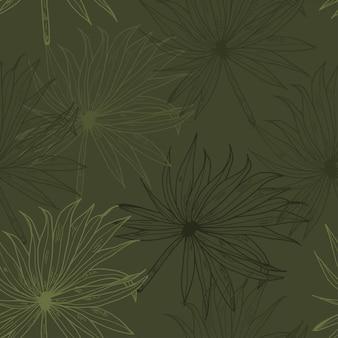 ヤシの葉カーキ線手描きのシームレスパターン