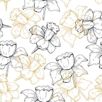 シームレスな手描きのスケッチ花柄の背景