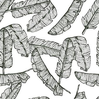 Пальмовые листья линии рисованной бесшовные модели