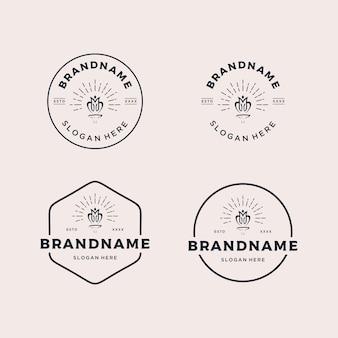 Установите винтажный ретро значок логотипа дизайн векторные иллюстрации