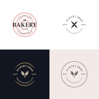 Установите пекарня магазин логотипа дизайн векторные иллюстрации