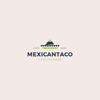 メキシコ料理タコスのロゴのテンプレート