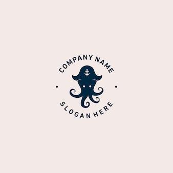 タコの海賊のロゴのテンプレート